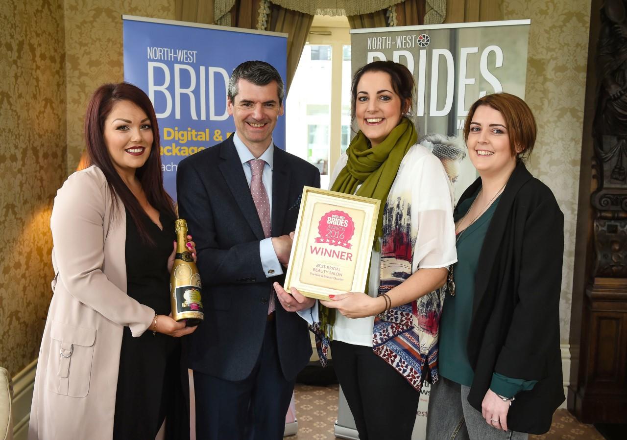 Muireann from Hair & Beauty Quarter receiveing Brides 2016 Winner Award