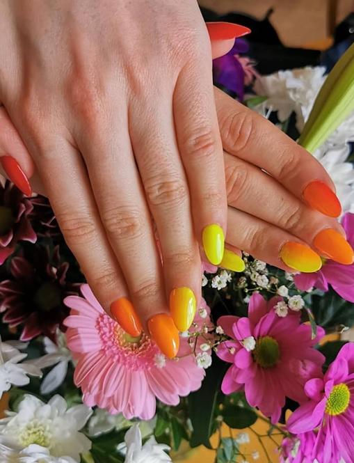 Orange and Yellow Nails