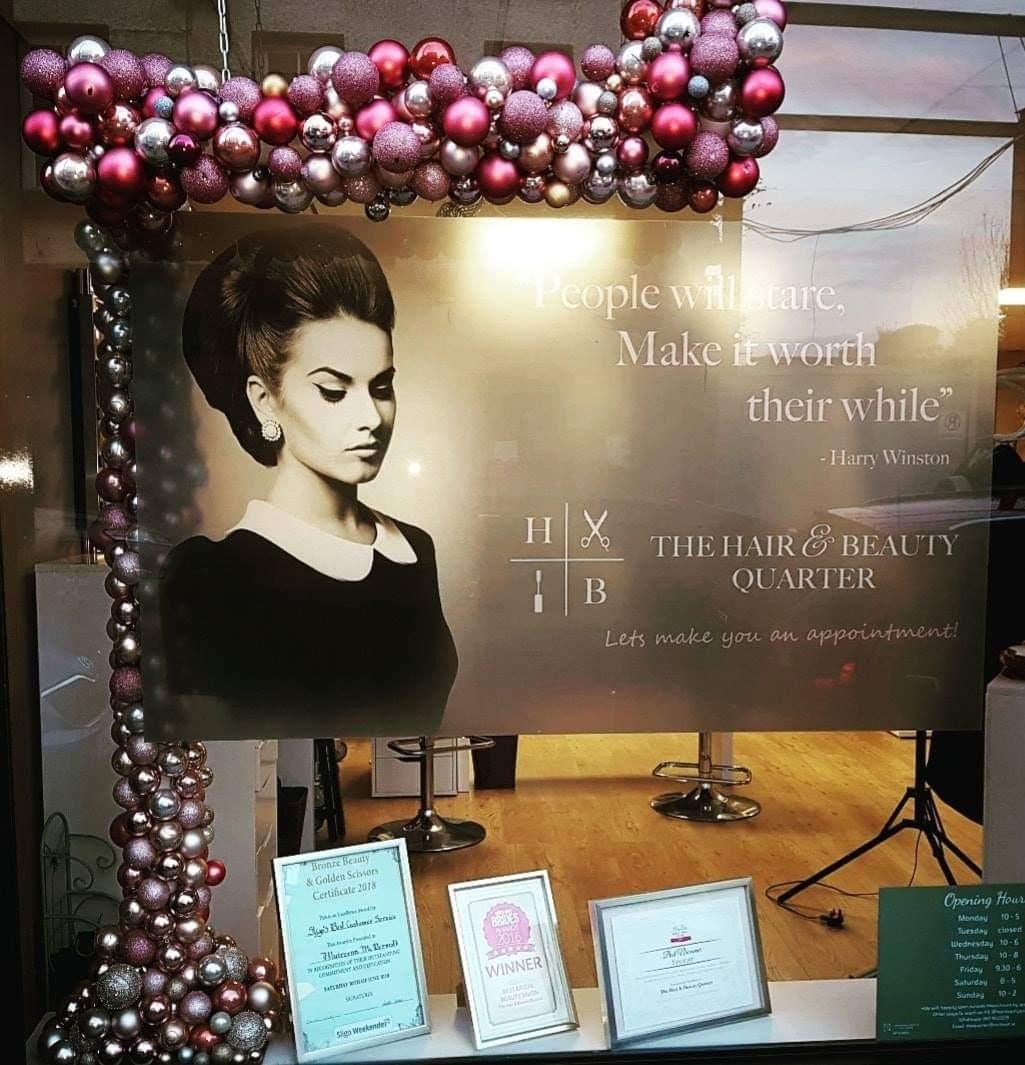 Window at Hair & Beauty Quarter Sligo at Xmas